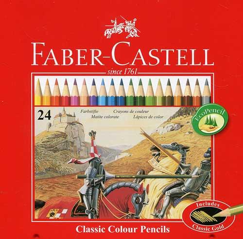 مداد رنگی فابرکاستل جعبه فلزی